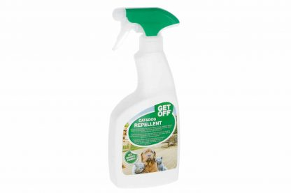 De Get Off Spray is een effectief middel voor zowel binnen als buiten, dat honden en katten er van weerhoudt hun territorium af te bakenen.