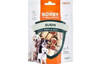 De Proline Boxby Original Sushi hondensnacks zijn zachte snacks met kip en koolvis. De snacks zijn door hun vorm ideaal voor het belonen van uw hond tijdens trainingen. De hondensnacks zijn door hun zachtheid ook geschikt voor de wat kleinere hond.