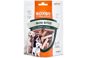De Proline Boxby Puppy Snacks Mini Biteszijn speciaal ontwikkeld voor puppy's. De snacks zijn niet te groot en makkelijk kauwbaar. Bovendien zijn ze onweerstaanbaar smakelijk voor kleine rakkers omdat deze hondensnack is gemaakt van kip en vis.