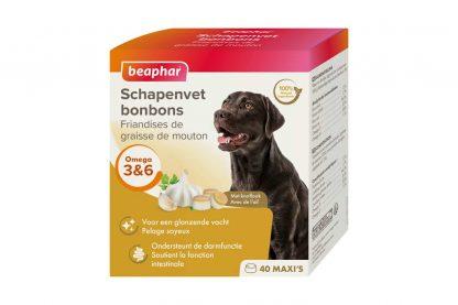 De Beaphar schapenvet bonbons knoflook is een 100% natuurlijk aanvullend diervoeder voor honden. De smaakvolle bonbons zijn rijk aan Omega 3, 6 en 9, mineralen en sporenelementen, waardoor ze zorgen voor een soepele en glanzende vacht.