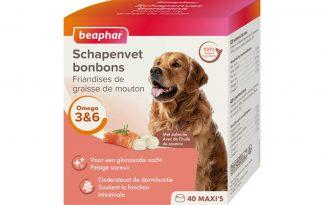 De Beaphar schapenvet bonbons zalm zijn een 100% natuurlijk aanvullend diervoeder voor honden. De smaakvolle bonbons zijn rijk aan Omega 3, 6 en 9, mineralen en sporenelementen, waardoor ze zorgen voor een soepele en glanzende vacht.