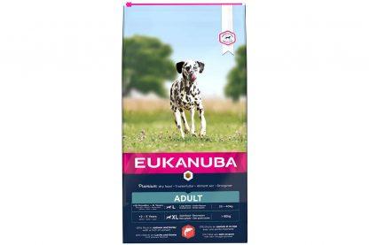 Eukanuba Adult Large Salmon & Barley is droge hondenvoeding voor alle volwassen rassen. Eukanuba droogvoer in brokvorm is rijk aan zalm en gerst en daarnaast perfect voor volwassen honden van grote rassen.