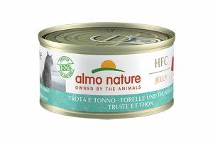 Almo Nature HFC Jelly - forel en tonijn is een heerlijke natvoeding volgens het bekende en traditionele receptuur van Almo Nature.