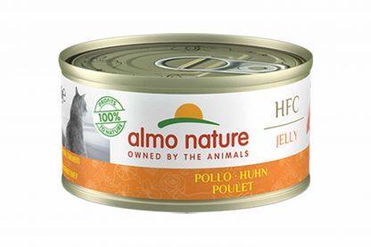 Almo Nature HFC Jelly - kip is een heerlijke natvoeding volgens het bekende en traditionele receptuur van Almo Nature. Het recept in gelei helpt bij het voorkomen van haarballen.