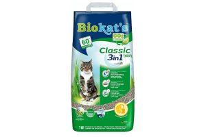 Biokat's Classic Fresh werkt klontvormend met aangenaam ruikende geurstoffen.De nieuwe Biokat's Fresh zorgt voor een frisse lentebries in uw huis, nadat de kat naar de bak is geweest! U en uw kat zullen het fijn vinden. Dankzij de 3 verschillende korrelgroottes door elkaar is deze kattenbakvulling extra effectief!
