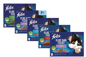Felix Elke Dag Feest bestaat uit een reeks heerlijke maaltijden die eruit zien als echt vlees en zó lekker ruiken dat je kat niet kan wachten tot zijn bakje op de grond staat! Het ziet er echt uit alsof je het zelf hebt klaargemaakt.
