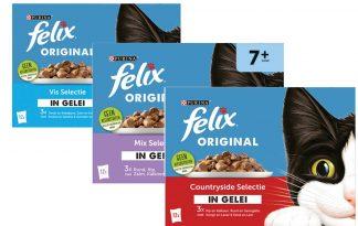 Felix Selectie in Gelei is een klassieker met lekkere stukjes met vlees of vis in een sappige gelei is favoriet bij elke kat. Je hebt geen minuut rust tot het is opgediend!