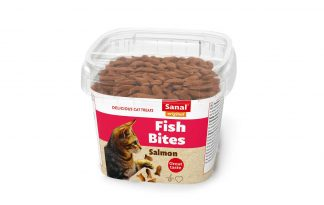 Sanal Bites fish zijn een heerlijke, knapperige en gezonde snacks voor uw kat. De snack heeft een lekkere, knapperige buitenkant en een vulling van zalm.