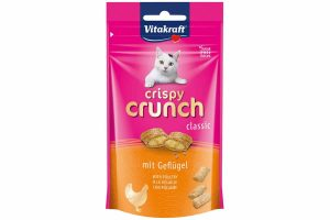 De Vitakraft Crispy Crunch gevogelte zijn lekkere zachte kussentjes met een heerlijke crèmevulling. De Vitakraft Crispy Crunch zijn een absoluut hoogtepunt voor uw kat! Het is een verrassende lekkernij met knapperige kussentjes.