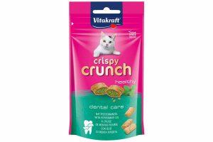 De Vitakraft Crispy Crunch pepermuntolie anti-tandplak zijn lekkere zachte kussentjes met een heerlijke functionele crèmevulling. De Vitakraft Crispy Crunch zijn een absoluut hoogtepunt voor uw kat!