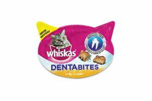 De Whiskas Dentabites helpen tegen de vorming van tandsteen. Tandsteen kan bij uw kat leiden tot tandvleesproblemen. Daarom kunt u uw kat dagelijks Whiskas Dentabites geven.