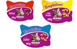 WhiskasTemptations zijn een overheerlijke snack voor uw kat, bestaat uit een krokante buitenkant en een zachte smakelijke binnenkant.