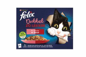Felix Dubbel zo Lekker is een reeks onweerstaanbare maaltijden gemaakt met twee soorten malse vlees- of visingrediënten in een heerlijke gelei, waar je kat dol op zal zijn! Hij zal heel wat slimme trucjes uithalen om deze heerlijke maaltijd te bemachtigen.