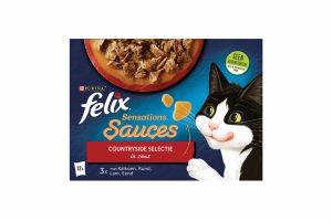 Felix Sensations Sauces selectie is een assortiment heerlijke maaltijden met malse reepjes met vlees of vis in verschillende saussmaken voor een onweerstaanbare verrassing. Ze zien, ruiken en smaken heerlijk zodat jouw kat ze onweerstaanbaar lekker zal vinden.