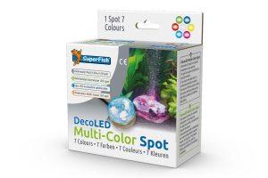 Met de Superfish Deco LED Meerkleuren Spot creëer je sfeer door de kleurrijke verlichting. Het spotje past precies onderin een DecoLED ornament. Het led is voorzien van 7 kleuren licht