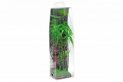 De Zen Deco Bamboo is gemaakt van zeer natuurgetrouw kunststof bamboe. Voorzien van een met kunst mos bedekt voetje. Dit element is een leuke toevoeging aan je aquarium en geeft daarnaast een Aziatische uitstraling.
