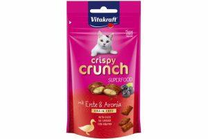Vitakraft Crispy Crunch Superfood arioniabessen en eend zijn heerlijke, knapperige snackkussentjes met een romige vulling. Rijk aan antioxidanten.