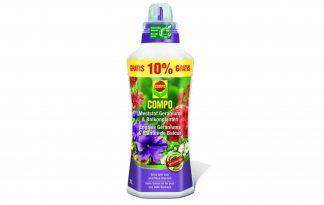 Compo Meststof Geraniums & Surfinia's is vloeibare meststof voor geraniums, surfinia's, petunia's en andere éénjarige planten.
