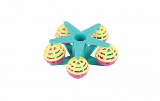 Happy Pet Fun at the Fair Carousel is een stervormig vogelspeelgoed dat op een zitstok kan worden geplaatst en zo rond kan draaien.