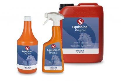 Sectolin Equishine zorgt ervoor dat de paardenvacht 8 tot 10 dagen glanzend en vuilafstotend blijft na een behandeling hiermee. Equishine is een antiklit- en glansmiddel dat zalf en andere inwrijfmiddelen niet beïnvloedt en eenvoudig afgewassen kan worden.