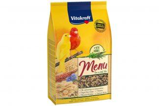 Vitakraft Premium Menu kanariezaad is een specifiek ontwikkelde voeding voor de kanarie, bevat alle essentiële vitaminen en mineralen voor de vogel. Het Vitakraft Premium Menu bevat onder andere zaden, levertraan en honing en is ideaal als basisvoeding voor de kanarie.