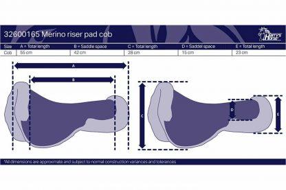 Harry's Horse Riser pad Merino zadel onderlegger is gemaakt met Merino wol en uitsparing voor de ruggenwervels. Aan beide zijden van de ruggengraat voorzien van twee inlagevlakken.