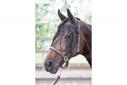 Deze Harry's Horse Vliegenfrontriem beschermt de ogen van het paard tegen vliegen. De riem is makkelijk te bevestigen door middel van klittenband aan een halster of hoofdstel.