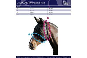 Het Harry's Horse vliegenmasker B-free is gemaakt van extreem sterk mesh materiaal. Het is royaal gesneden voor maximale bescherming tegen insecten en heeft een verwijderbare neusbeschermer (met klittenband).