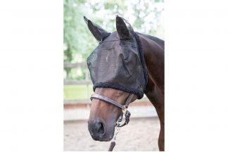 Harry's Horse vliegenmasker met oren is voorzien van coupenaden bij de ogen. Het is gemaakt van stevig materiaal en is rondom met fleece afgebiesd. Dit masker heeft zachte oren en een klittenbandsluiting bij de keel.
