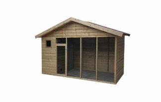 Geïmpregneerd houten volière 440 cm met puntdak en deur binnenkant