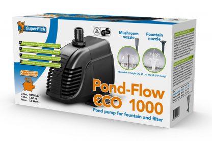 De Superfish Pond-Flow ECO fonteinpomp is een multifunctionele energiezuinige vijverpomp voor fonteinen. De pomp komt tevens inclusief twee verschillende sproeikoppen: een fonteinsproeier en een waterbelsproeier. De sproeier is bovendien in hoogste verstelbaar en kantelbaar (15°).