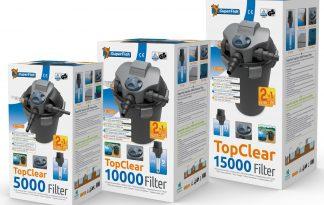 Superfish Top Clear UVCis een hoge drukfilter met ingebouwde UVC. Het grote voordeel van dit drukfilter is dat alle aansluitingen en de techniek in het deksel geplaatst zijn, waardoor het filter bijna geheel ingegraven kan worden.