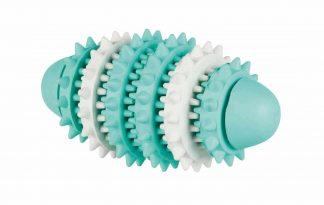 De Trixie Denta Fun Rugbybal is gemaakt van natuurlijk rubber en geeft door het kauwen een masserende werking op het tandvlees.