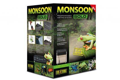 De Exo Terra Monsoon Solo II is de hernieuwde versie van de Exo Terra Monsoon Solo. De Solo II is een programmeerbaar nevelsysteem voor elk type terrarium of plantenkas. De Monsoon Solo II helpt een optimale luchtvochtigheid te handhaven in het terrarium of plantenkas, door te beregenen met vooraf ingestelde tussenpozen.