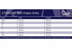De Minichaps Unity bestaat uit synthetisch leder en elastiek. De minichaps hebben een elegante pasvorm en zijn daarnaast voorzien van een dressuurboog.