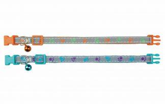 Trixie kattenhalsband reflecterend met pootmotief, waardoor het een speelse uitstraling heeft. Met dit halsbandje zijn katten makkelijker te zien in het donker en lopen zij er ook nog eens trendy bij