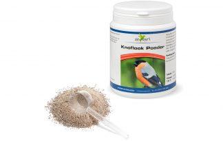 Avian Knoflook Poeder is een natuurlijk voedingssupplement voor dieren, geschikt voor volièrevogels en duiven. Knoflook bevat allicine als natuurlijke werkzame stof. Naast allicine bevat knoflook ook behoorlijke hoeveelheden salicylzuur, B vitamines, eiwit of wel aminozuren en ook de mineralen calcium, fosfor, selenium, zink en nikkel.
