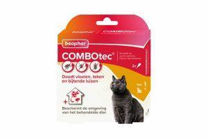Beaphar COMBOtec voor katten is een vlooiendruppel met een extra brede werking. Het doodt niet alleen vlooien, maar ook teken en bijtende luizen. Daarnaast beschermt het ook de omgeving van het behandelde dier, waardoor je de ontwikkeling van eieren, larven en poppen tegengaat!