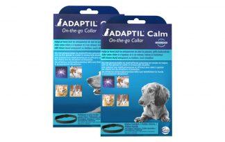 De Adaptil kalmerende halsband bevat hondenferomonen om de hond te kalmeren tijdens situaties van stress. Doordat de feromonen aan een halsband zitten, werkt deze zowel binnens- als buitenshuis.