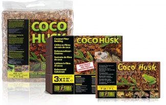 Exo Terra Coco Husk terrariumsubstraat is gemaakt van samengeperste vezels van kokosnootbast uit de plantages van tropisch Azië.