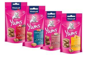 Vitakraft Yums kattensnacks zijn een absoluut hoogtepunt voor uw kat! Het zijn verrassend zachte hapjes met een heerlijke smaak en bevatten extra veel vlees.