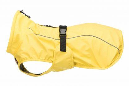 De Trixie hondenregenjas Vimy is een water- en winddichte jas voor uw hond. De jas heeft een borstflap, buikriem met gesp en is traploos verstelbaar.
