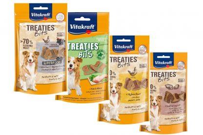 Vitakraft Treaties Bits zijn onweerstaanbare vleeshapjes uit de oven. Deze snack heeft een extra hoog vleesaandeel en is daardoor extra aantrekkelijk.
