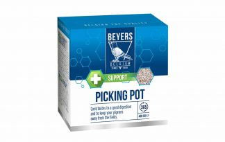 De Beyers Pikpot is een mineraalmengsel voor duiven in een handig potje. Uitsluitend gemaakt van natuurlijke grondstoffen, waardoor het de noodzakelijke mineralen, sporenelementen en zouten voor duiven bevat.