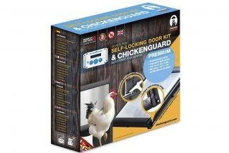 Het ChickenGuard Premium deuropener combi pakket is een automatische hokopener voor het kippenhok. Hierdoor hoeft u 's avonds niet meer naar buiten. De ChickenGuard Premium deuropener werkt op een programmeerbare timer en lichtsensor met aangepaste gevoeligheid.