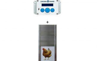 De ChickenGuard Premium met aluminium deur sluit het nachthok van de kippen automatisch. Het is de ideale bescherming voor uw pluimvee omdat de ChickenGuard in te schakelen is op tijd en licht, daardoor kunt u uw pluimvee beschermen tegen roofdieren.