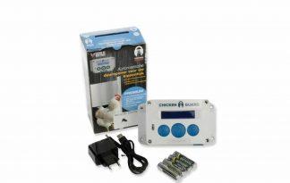 De ChickenGuard Premium deuropener met adapter voor kippen is een automatische hokopener voor het kippenhok, hierdoor hoeft u 's avonds niet meer naar buiten.