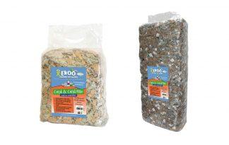 De Ekoo Card & Card bodembedekker mix is een zacht, warm en comfortabel product. Deze bodembedekker is gemaakt van niet gebruikte, stukjes kartonnen dozen (70%) en eierdoosjes (30%)