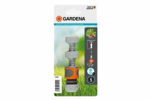 """De Gardena aansluitset bevat twee kraanstukken die aansluiting op de kraan mogelijk maken. envoudig, probleemloos gebruik dankzij montage zonder gereedschap. Voor montage op kranen met 26.5 mm (G 3/4"""") draad."""