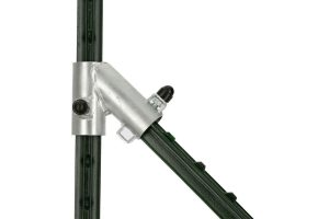 Het afrastering startset T-postsysteem bestaat uit twee beugels voor diagonale beugels, inclusief bevestigingsschroeven en kappen.